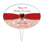 Damask 40th Wedding Anniversary Design Cake Toppers