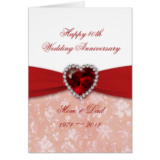 Damask 40th Wedding Anniversary Design Card