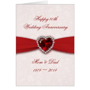 Damask 40th Wedding Anniversary Design Card at Zazzle