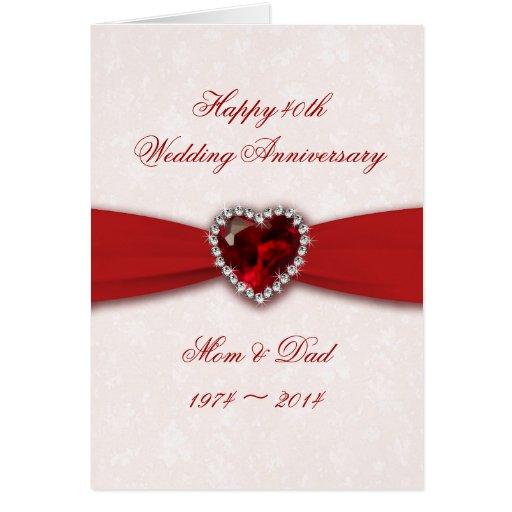 Damask 40th Wedding Anniversary Design Greeting Card Zazzle