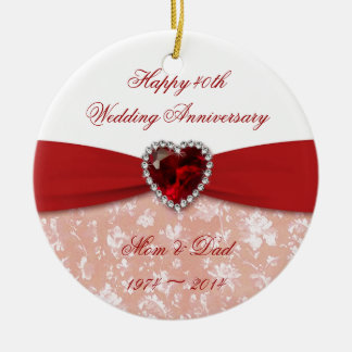 Damask 40th Wedding Anniversary Design Ceramic Ornament