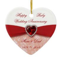 Damask 40th Wedding Anniversary Design Ceramic Ornament