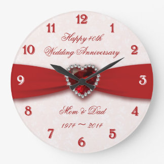 Damask 40th Wedding Anniversary Design Wall Clocks