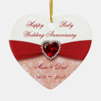 Damask 40th Wedding Anniversary Design Double-Sided Heart Ceramic Christmas Ornament