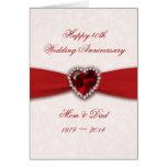 Damask 40th Wedding Anniversary Design Greeting Card