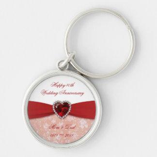 Damask 40th Wedding Anniversary Design Keychains