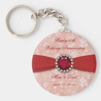 Damask 40th Wedding Anniversary Design Basic Round Button Keychain