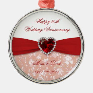 Damask 40th Wedding Anniversary Design Metal Ornament