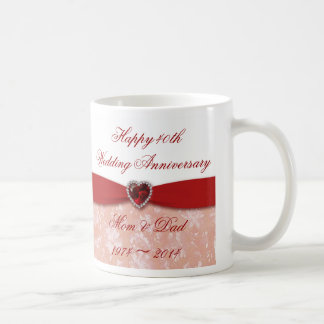 Damask 40th Wedding Anniversary Design Classic White Coffee Mug