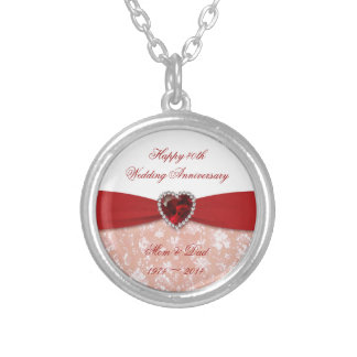 Damask 40th Wedding Anniversary Design Round Pendant Necklace