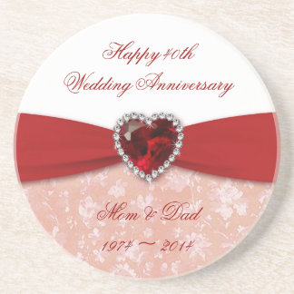 Damask 40th Wedding Anniversary Design Sandstone Coaster