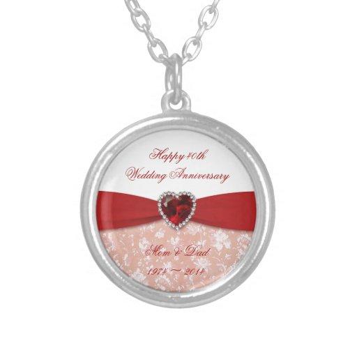 40th Wedding Anniversary Gift Jewelry : Damask 40th Wedding Anniversary Design Silver Plated Necklace Zazzle