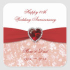 Damask 40th Wedding Anniversary Design Square Sticker