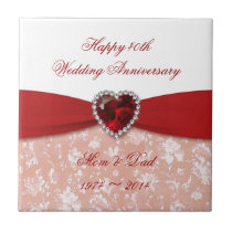 Damask 40th Wedding Anniversary Design Tile