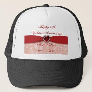 Damask 40th Wedding Anniversary Design Trucker Hat