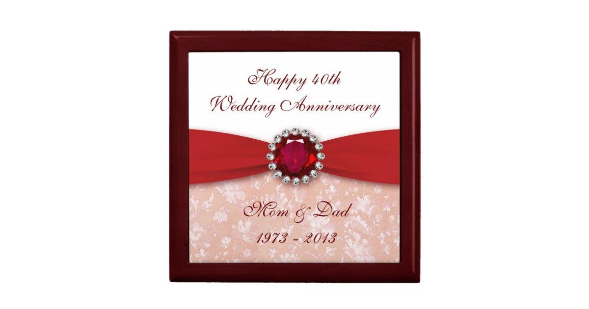Golden Wedding Gift Experiences : Damask 40th Wedding Anniversary Gift Box Zazzle