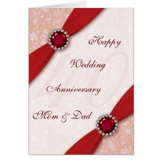 Damask 40th Wedding Anniversary Greeting Card