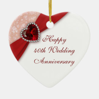 Damask 40th Wedding Anniversary Heart Ornament
