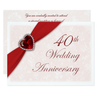 40th Ruby Wedding Anniversary Invitations Announcements