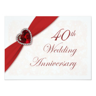"Damask 40th Wedding Anniversary Invitation 5.5"" X 7.5"" Invitation Card"