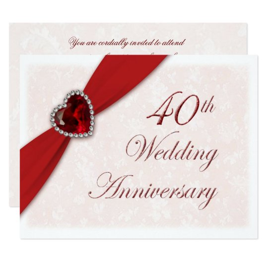Special Gift For 40th Wedding Anniversary : Damask 40th Wedding Anniversary Invitation Zazzle