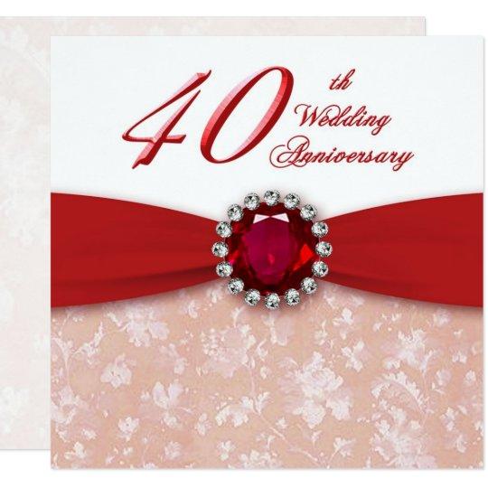 50th Wedding Anniversary Gift Etiquette: Damask 40th Wedding Anniversary Invitation