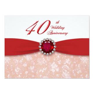 "Damask 40th Wedding Anniversary Invitation 6.5"" X 8.75"" Invitation Card"