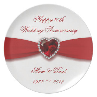 Wedding Gifts For Over 40 : Damask 40th Wedding Anniversary Melamine Plate