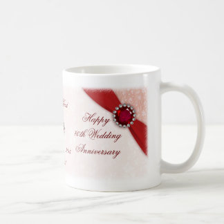 Damask 40th Wedding Anniversary Mug