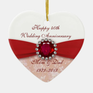 Damask 40th Wedding Anniversary Ornament