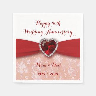 Damask 40th Wedding Anniversary Paper Napkins
