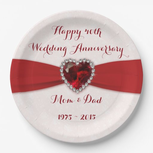 Damask 40th Wedding Anniversary Paper Party Plate Zazzle