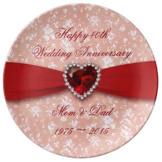 Damask 40th Wedding Anniversary Porcelain Plate