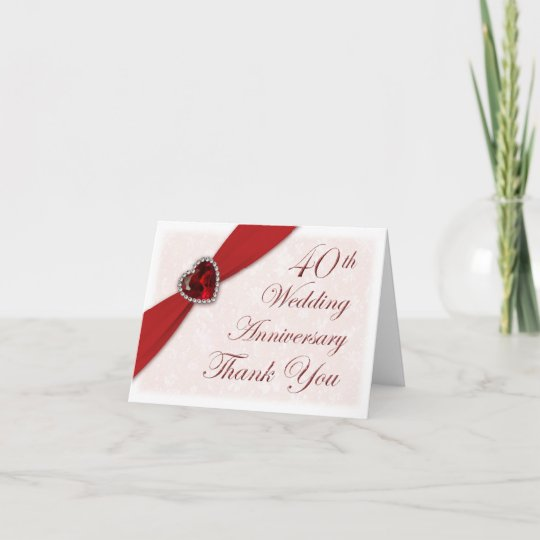 Damask 40th Wedding Anniversary Thank You Card Zazzle Com
