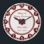 "Damask 40th Wedding Anniversary Wall Clock<br><div class=""desc"">A Digitalbcon Images Design featuring a Ruby Red, White and Damask design theme with a variety of custom images, shapes, patterns, styles and fonts in this one-of-a-kind &quot;Damask Ruby Wedding Anniversary&quot; Wall Clock. This attractive and elegant design comes complete with customizable text lettering, images and clock numbers. Make this your...</div>"