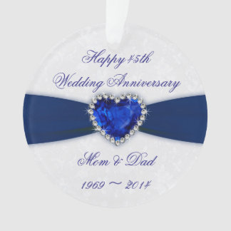 Damask 45th Wedding Anniversary Acrylic Ornament