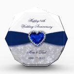 """Damask 45th Wedding Anniversary Award<br><div class=""""desc"""">A Digitalbcon Images Design featuring a sapphire blue and white color and damask design theme with a variety of custom images, shapes, patterns, styles and fonts in this one-of-a-kind &quot;Damask 45th Wedding Anniversary Design&quot;. With this attractive and elegant design choice you&#39;ll have all your decorations, gift ideas and party favors...</div>"""
