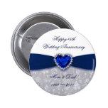 Damask 45th Wedding Anniversary Button