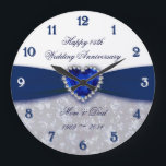 """Damask 45th Wedding Anniversary Clock<br><div class=""""desc"""">A Digitalbcon Images Design featuring a sapphire blue and white color and damask design theme with a variety of custom images, shapes, patterns, styles and fonts in this one-of-a-kind &quot;Damask 45th Wedding Anniversary Design&quot;. With this attractive and elegant design choice you&#39;ll have all your decorations, gift ideas and party favors...</div>"""