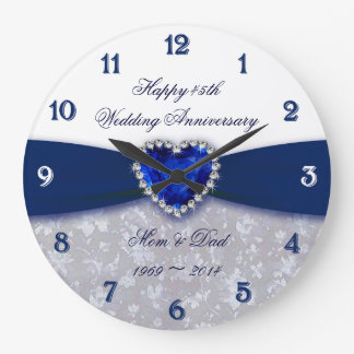 Damask 45th Wedding Anniversary Clock