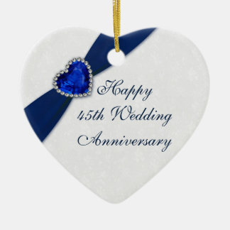 Damask 45th Wedding Anniversary Heart Ornament