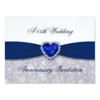 "Damask 45th Wedding Anniversary Invitation 6.5"" X 8.75"" Invitation Card"