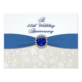 "Damask 45th Wedding Anniversary Invitation 5.5"" X 7.5"" Invitation Card"