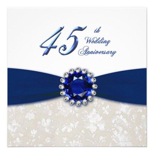 Wedding Gifts For 45th Anniversary : Damask 45th Wedding Anniversary Invitation 5.25