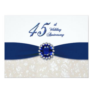 Damask 45th Wedding Anniversary Invitation