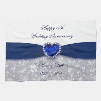 Damask 45th Wedding Anniversary Kitchen Towel