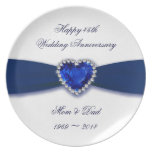 Damask 45th Wedding Anniversary Melamine Plat Dinner Plate
