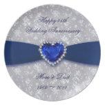 Damask 45th Wedding Anniversary Melamine Plate