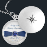 """Damask 45th Wedding Anniversary Necklace<br><div class=""""desc"""">A Digitalbcon Images Design featuring a Blue Sapphire color and Damask theme with a variety of custom images, shapes, patterns, styles and fonts in this one-of-a-kind &quot;Sapphire Wedding Anniversary&quot; Necklace. This attractive and colorful design comes complete with customizable text lettering and image to suit your own special occasion. Say &quot;Happy...</div>"""