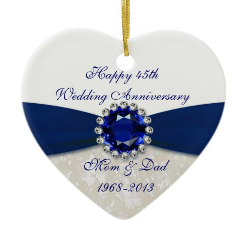 Wedding Gifts For 45th Anniversary : Damask 45th Wedding Anniversary Ornament Zazzle
